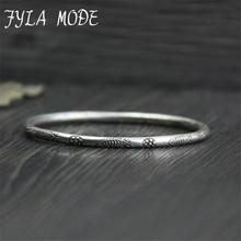 Fyla Mode S925 Sterling Silver Jewelry Fashion Thai Silver Hand Carved Small Fish Pattern Bangles Bracelets 3mm 9.5g PKY161