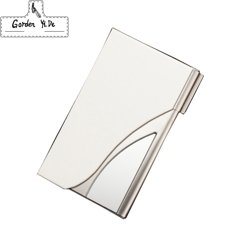 Business Name Card Holder Credit Card Holder Fashion Unisex Visit Card Case Metal Wallet PU Leather Solid Steel Box C0029 mini code case style name card holder box silver