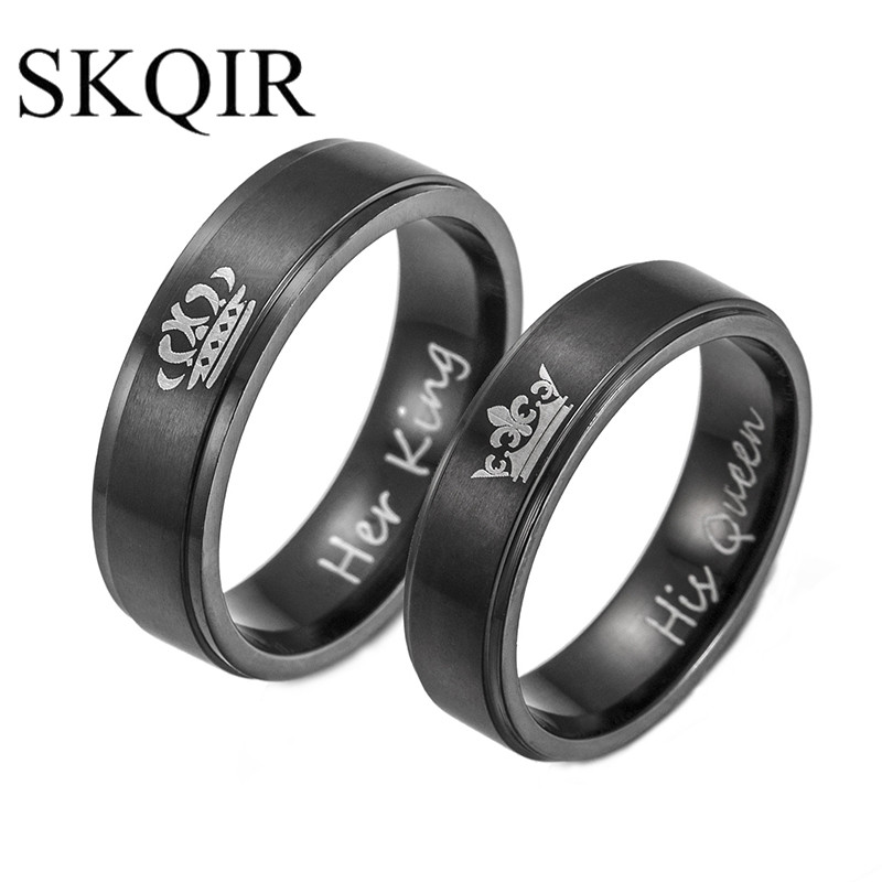 Online Shop SKQIR Romantic Wedding Rings For Lover HIS QUEEN And
