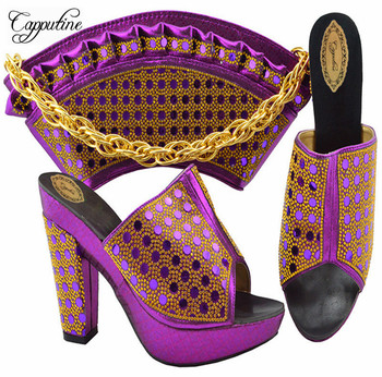 Capputine High Quality Decorated with Rhinestone Women Shoes And Bag Set Newest Italian Shoes With Matching Bag Set YK-1069