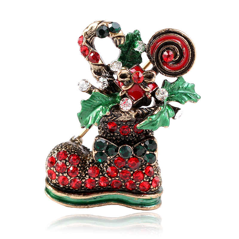CINDY XIANG Cute Paint Christmas boots Brooches For Women Creative Colorful Pins Party Casual Accessories Coat Sweater Jewelry
