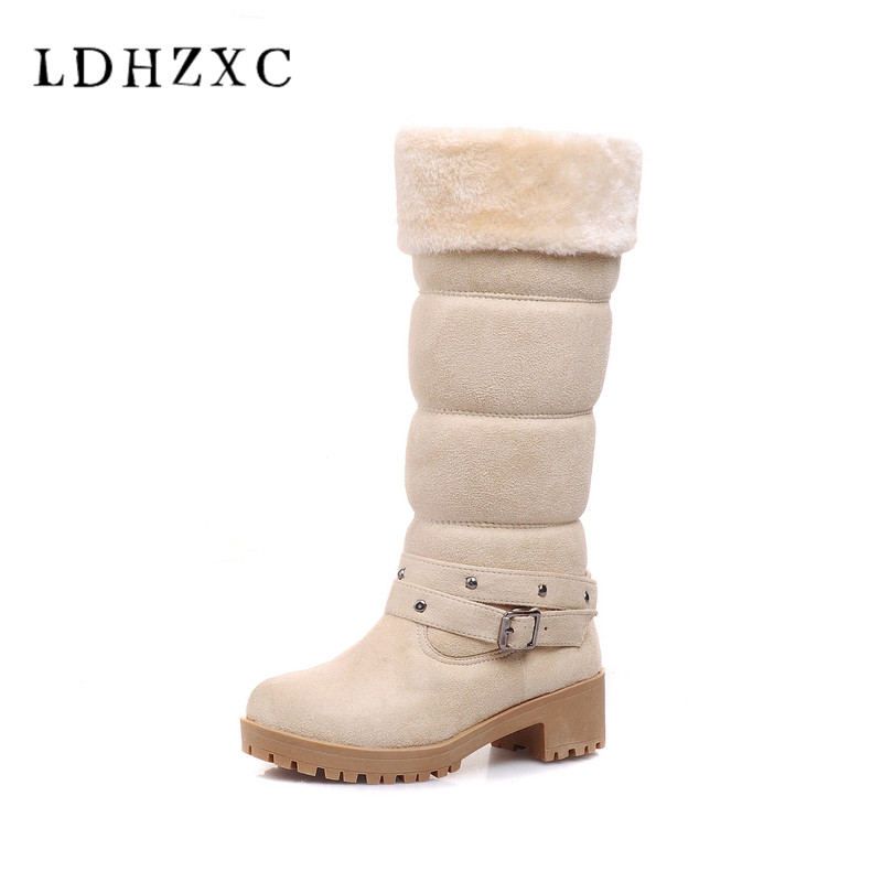 LDHZXC 2018 new Fahion Women Knee square High heel Snow Boots Slip on Wedges Heel Round Toe Women Shoes Winter Women Snow Boots цена