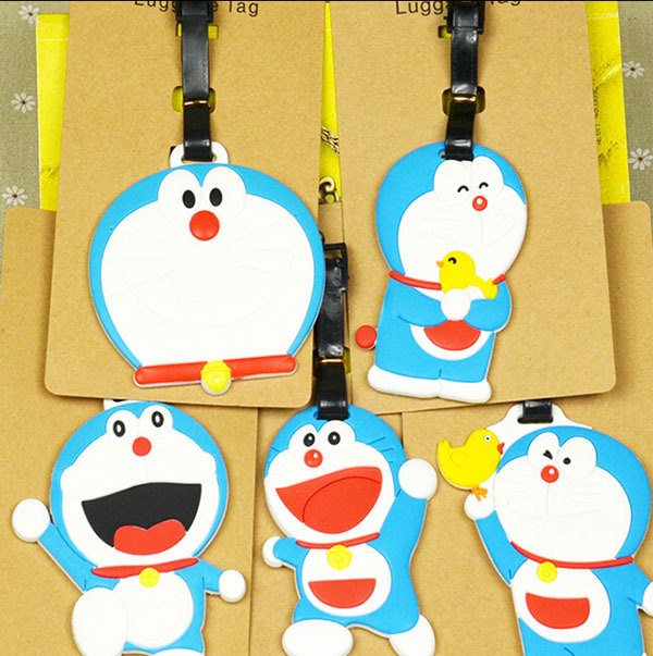 COOL 1PCS Cute Doraemon Anime Luggage Tag Travel Accessories Suitcase ID Address Portable Tags Holder Baggage Labels New