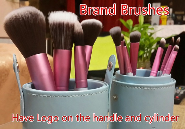 Free Shipping 2014 New Arrival 12 pcs Cylinder Professional Makeup Brushes Sets Essential Kit  Mrs.Bunny Makeup Brush