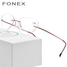 45dcab577c FONEX Rimless Reading Glasses Frame Titanium Women 2018 Ultralight Cat Eye  Presbyopic