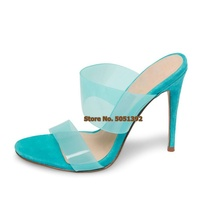 Women High Thin Heel Transparent PVC Clear Sandals Open Toe Sexy Fashion Crystal Causal Slippers