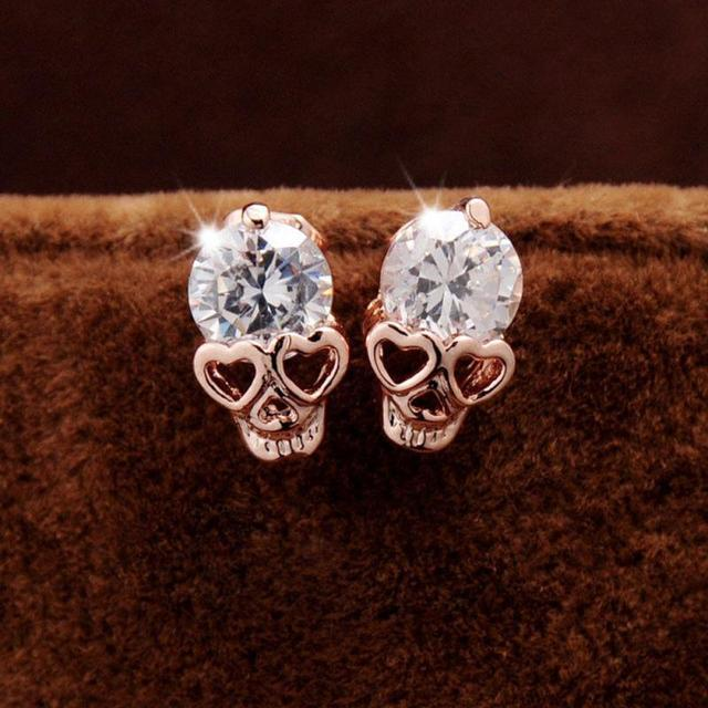 2pair Women S Cz Crystal Skull Pierced Stud Earrings Jewelry Gift For Best Friends