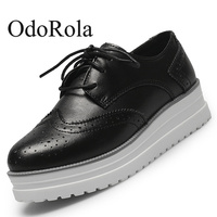 d10576713 OdoRola Women Flat Platform Genuine Leather Shoes Brogue Lace Up Oxfords  Casual Shoes Height Increase Business