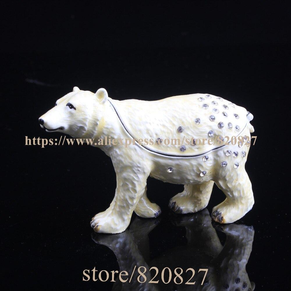 Bear Pewter Hinged Trinket Box Bear Handmade Jeweled Metal Trinket Box