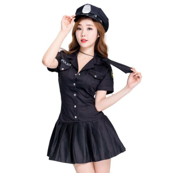 lady Halloween Officer Policewomen Cosplay Fancy Dress Outfit Women Sexy Erotic Fetish Cop Police Costume short dresses A161
