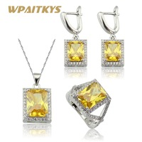 WPAITKYS Square Yellow Cubic Zirconia Silver Color Jewelry Sets Necklace Pendant Earrings Rings For Women Free