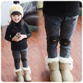 Children 's clothing girls jeans 2016 Korean version of winter plus cashmere jeans children feet pants winter pants plus size