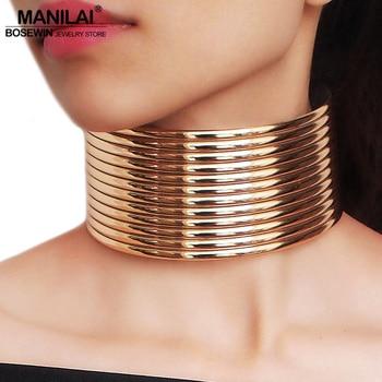 ac92de0c978e MANILAI Vintage grueso gargantillas collares de oro de cuero de Color  collares de joyería de moda Collar de perlas gran estilo indio