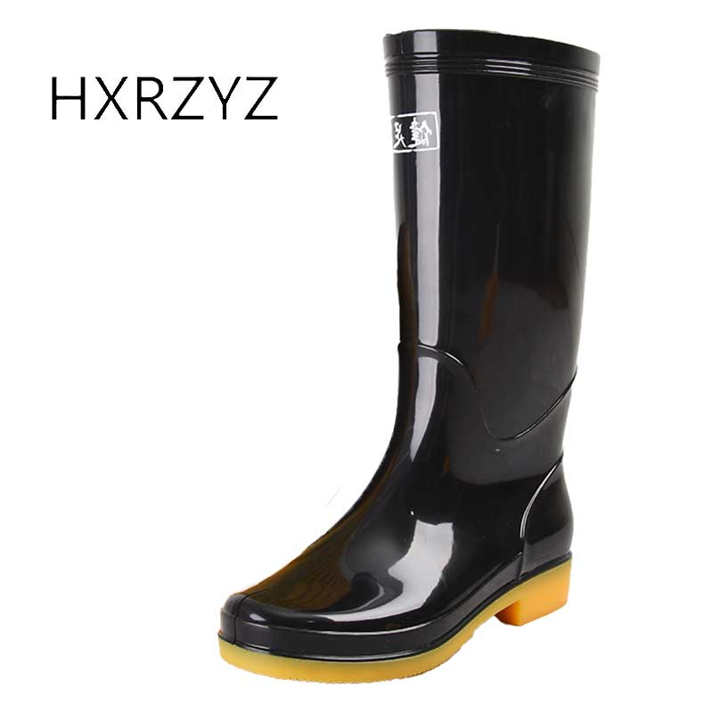 HXRZYZ Women rain boots female knee high black rubber boots spring/autumn fashion Slip-Resistant Waterproof shoes women large size spring autumn fashion shoes women rain boots female elastic band slip resistant ankle boots waterproof rubber boots