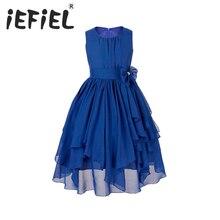 14Y ילדים בנות נסיכת תחרות בנות פרח שמלת נסיכת חתונת המפלגה שושבינה שיפון לרגל רשמי שמלה פרחונית