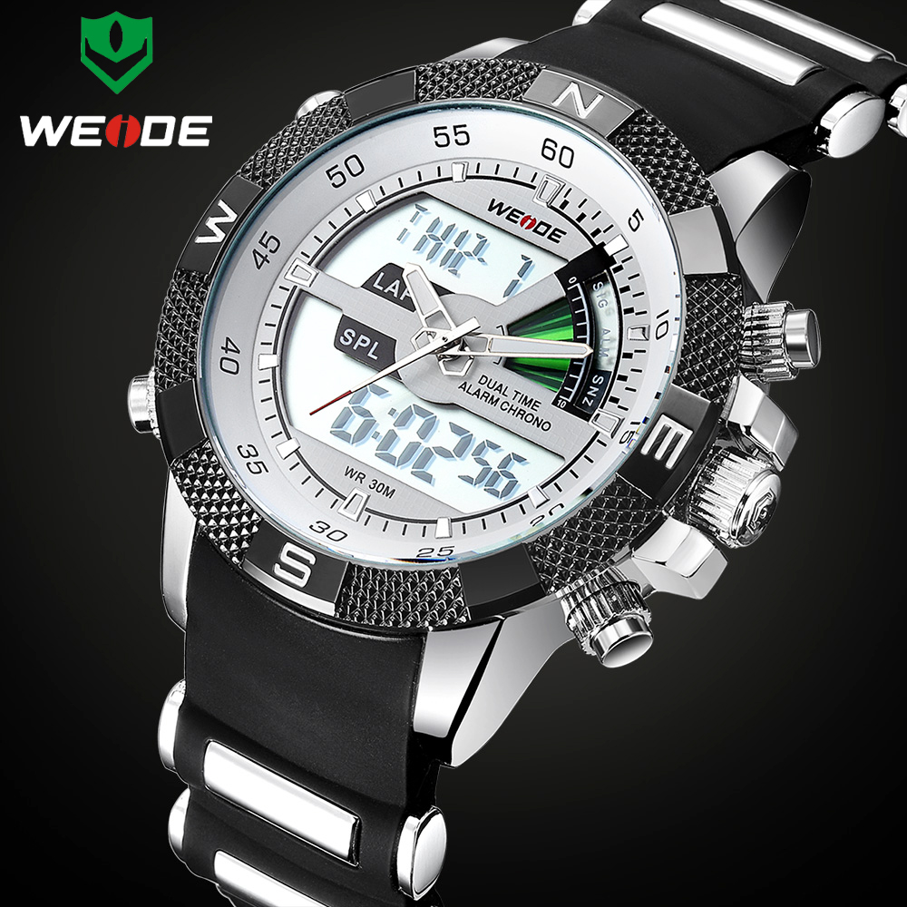 Luxury Brand WEIDE Men Fashion Sports Watches Men's Quartz Analog LED Clock Male Military Wrist Watch Relogio Masculino 2016 new weide luxury brand quartz watches men dual time oversize clock men sports military leather strap fashion wrist watch