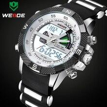 Lüks marka WEIDE erkekler moda spor saatler erkek kuvars Analog LED saat erkek askeri kol saati Relogio Masculino