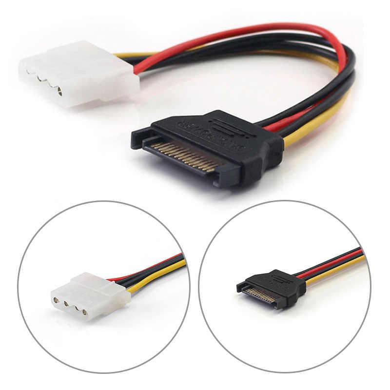 Nowy SATA do IDE kabel zasilający 15 Pin SATA żeński do Molex IDE 4 Pin męski przedłużacz dysk twardy kabel zasilający