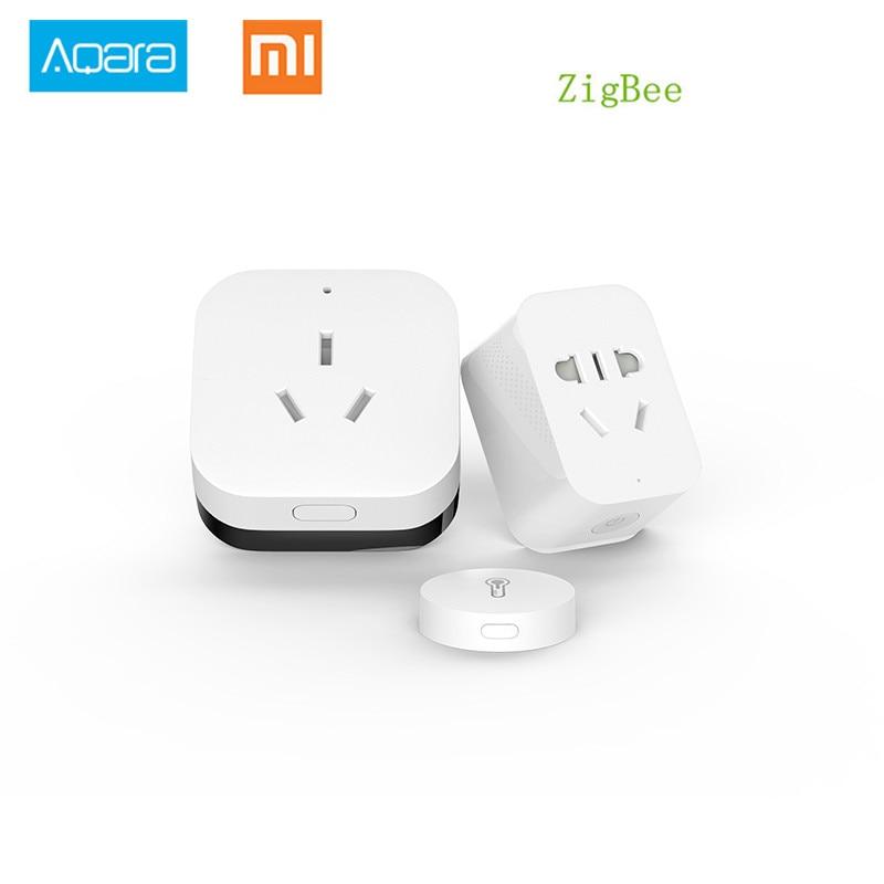 Xiaomi Gateway Aqara Zigbee wifi control smart home Automatización kits Smart socket Temperatura Humedad Sensor para Android IOS APP