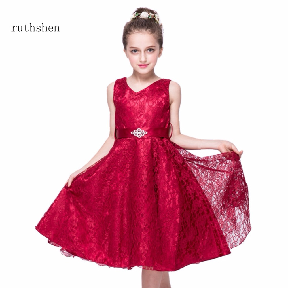 ruthshen New Style Princess Lace Flower Girl Dresses Real Photo ...
