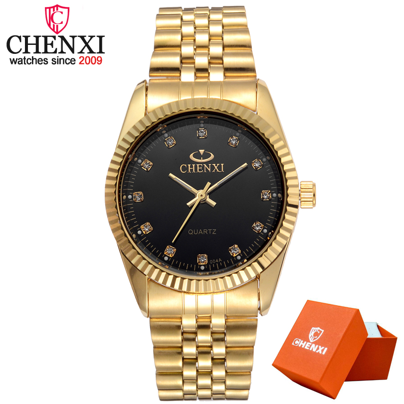 CHENXI Men Fashion Watch Women Quartz Watches Luxury Golden Stainless Steel Wristwatch Lovers Dress Clock in Box Gift