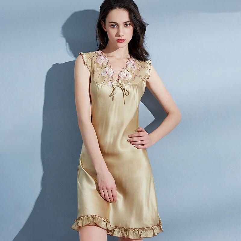 Women 100% Real Natural Silk Nightgowns Lace Flower Sleeveless Pure Silk Night Dress Sleepwear Nightwear Ladies Nightdress