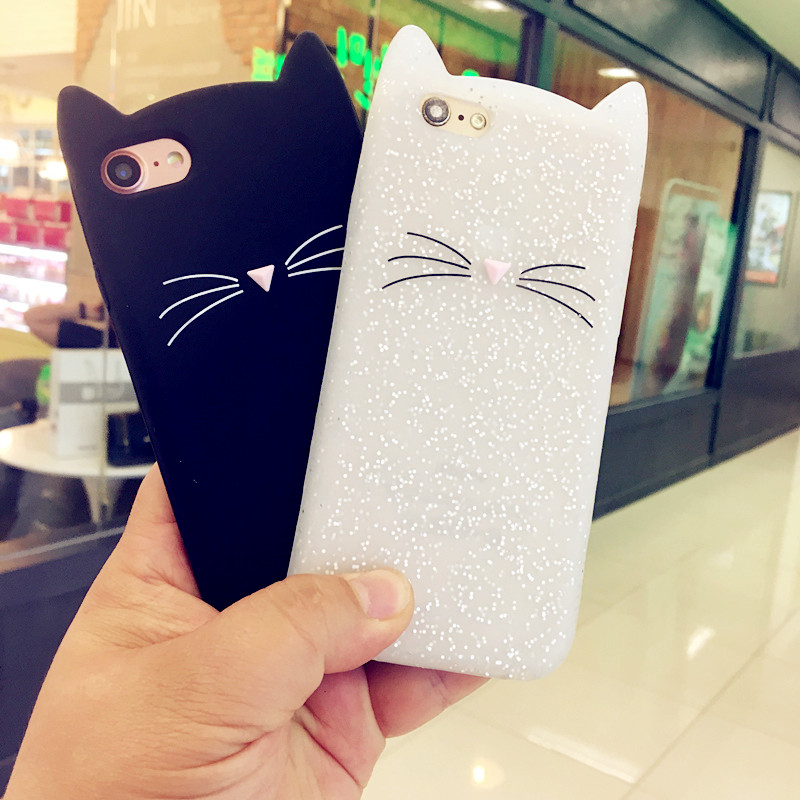 Cute Soft Silicone Back Cover Case For iPhone 8 Plus X 10 Ten 7 Plus 6 6S Plus 5 5S SE 4 4S Phone Protector Cartoon Cat Fundas