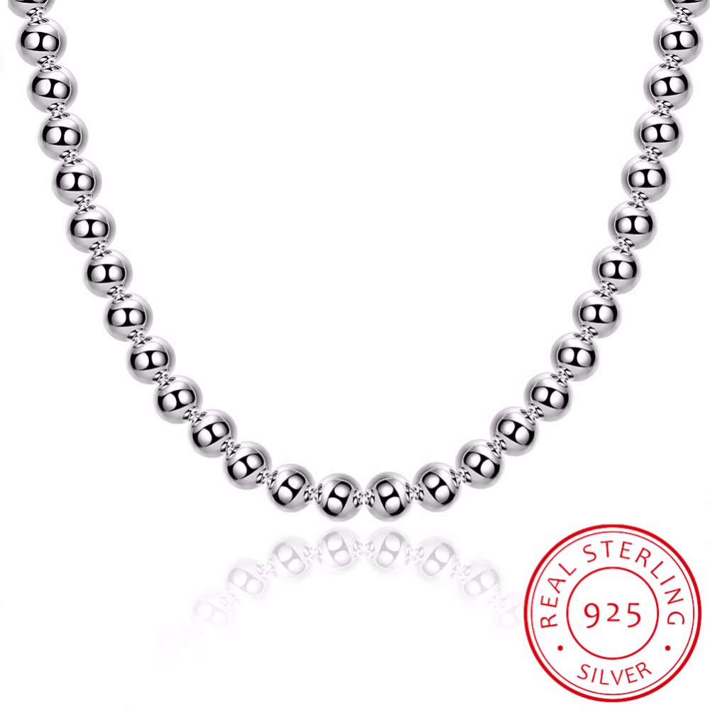 LEKANI Womens Fine jewelry 20 8MM Hollow Buddha beads necklace 925 sterling silver charm chain collier es Plata free shippingLEKANI Womens Fine jewelry 20 8MM Hollow Buddha beads necklace 925 sterling silver charm chain collier es Plata free shipping