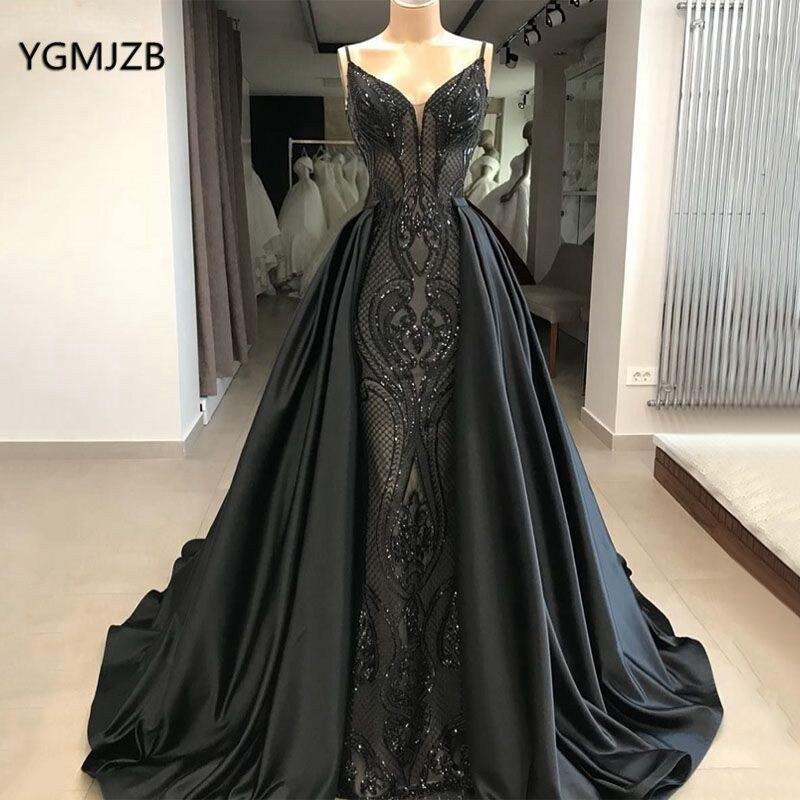 Black Sparkly Sequin Evening Dress Long 2020 With Detachable Skirt Elegant Saudi Arabic Women Formal Evening Prom Gown Plus Size