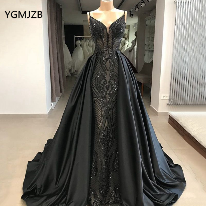 Black Sparkly Sequin   Evening     Dress   Long 2020 with Detachable Skirt Elegant Saudi Arabic Women Formal   Evening   Prom Gown Plus Size