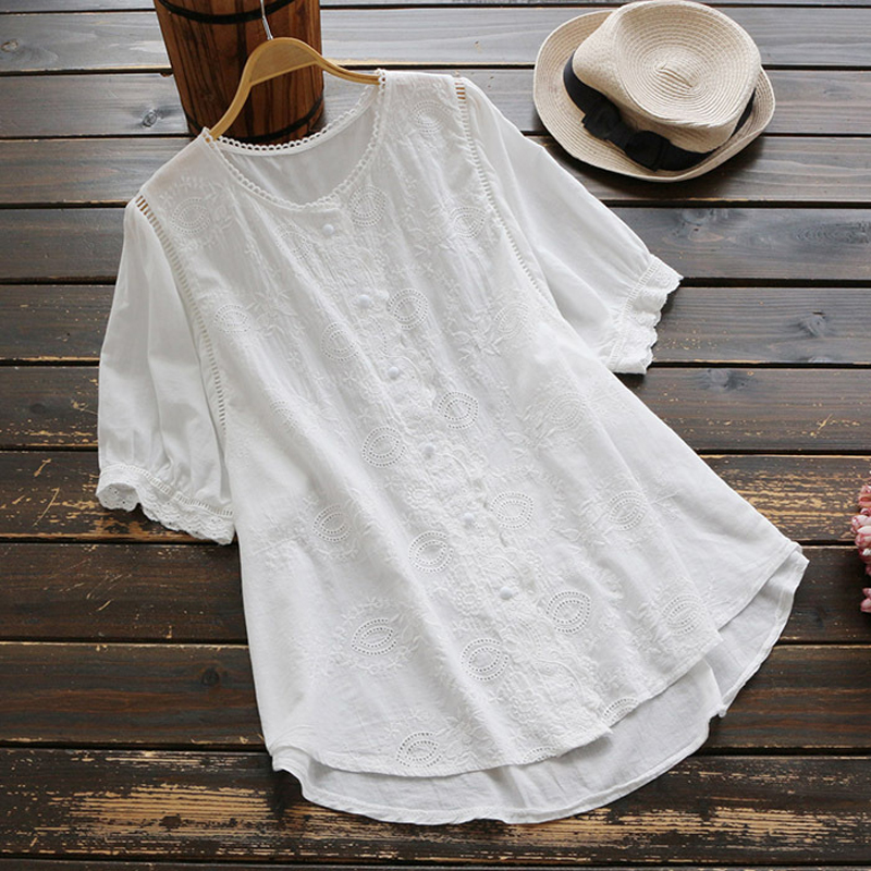 YSMILE Y Women Summer Shirt Embroidery Floral Loose Female Half Sleeve Blouse Cotton Hollow Out Cute Tops O-Neck Women Clothes