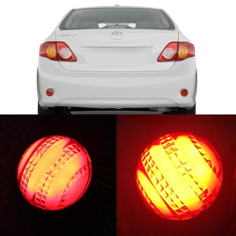 Car LED Red Lens Rear Bumper Reflector Stop Brake Light Tail Paking Fog lamp for 2007-2010 Toyota Corolla/Korolla  clear smoke red lens motorcycle red led brake stop rear fender tip tail light indicator lamp for harley breakout fxsb 2013 2016