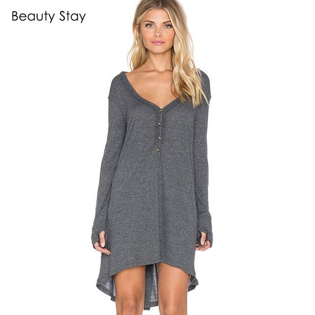 BeautyStay Women Casual Loose Plus Size Cotton Dress Plain Grey V ...