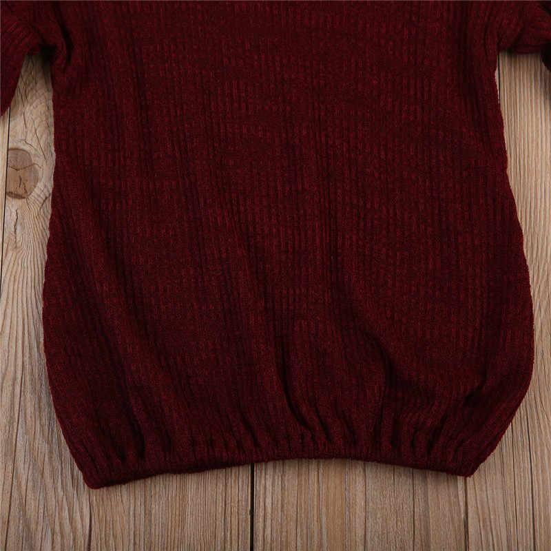 سويتر جديد من العلامة التجارية مصنوع من خشب البوكو لفصل الخريف والشتاء للأطفال بأكمام طويلة وسترة منسوجة باللون الأحمر ملابس للأطفال للكريسماس
