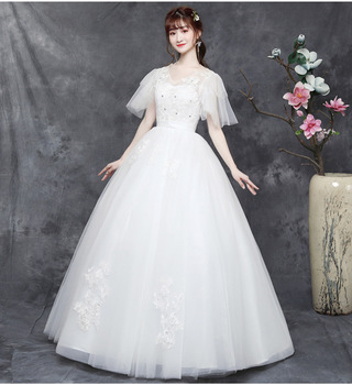 Wedding Gowns for Bride 2019 Bridal Dresses Ball Gown Vintage Illusion Floral Lace Tulle V-Neck Sweatheart Short Sleeve