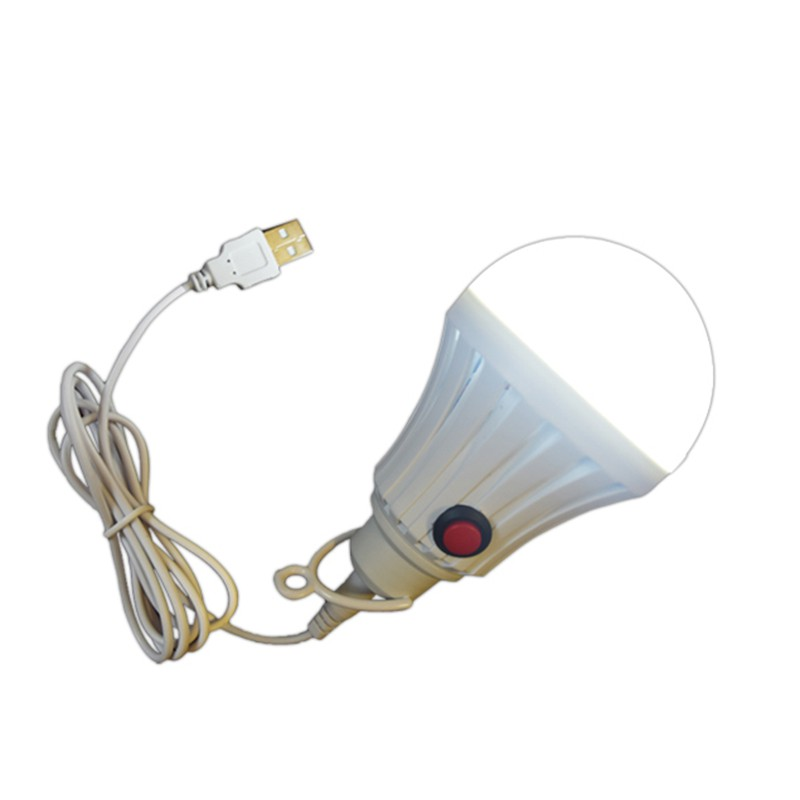 High Brightness LED light bulb with on/off switch high power 7W 9W 12W 5V lamp bulb with USB cord outdoor camp/party
