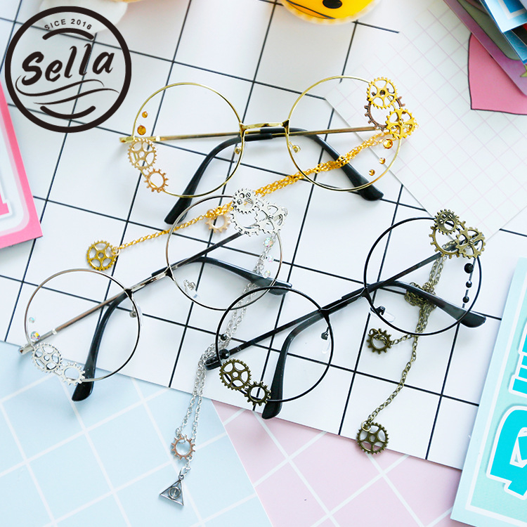 Sella Retro Women Round Steampunk Glasses Frame Ladies Lolita Harajuku Style Gear Chain Decoration Eyewear