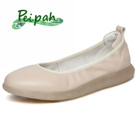 PEIPAH Comfortable Genuine Leather Women Flat Shoes Female Loafers Mother Shoes Soft Leather Ballet Flats Shoes Sapato Feminino