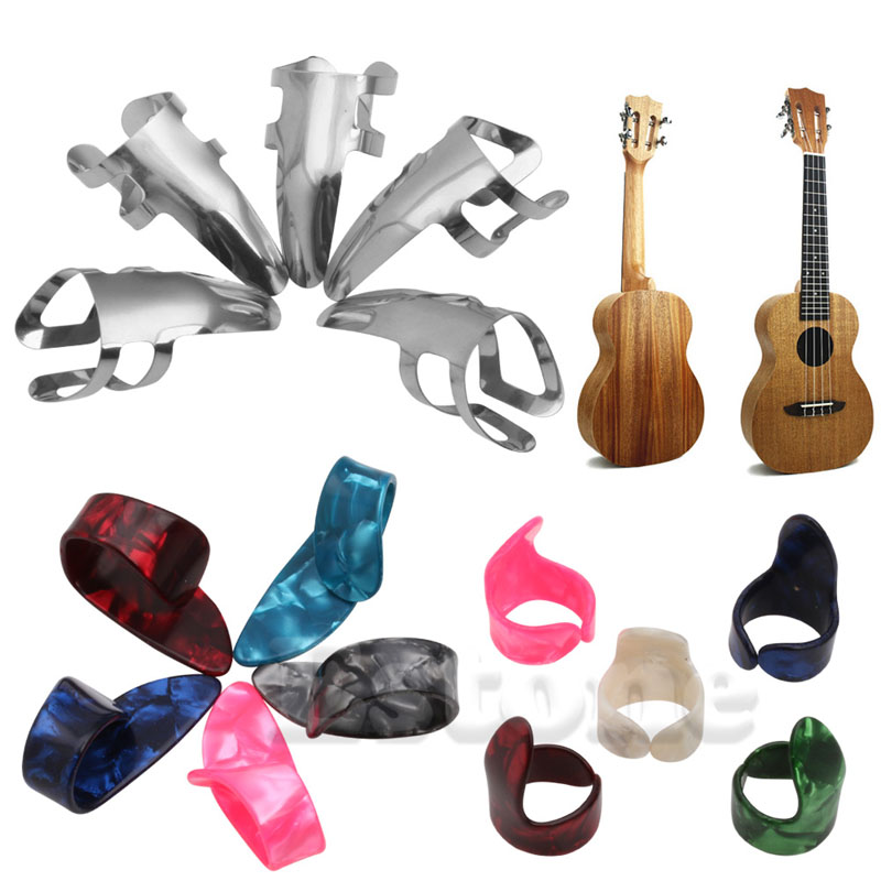 15pcs Stainless Steel Celluloid Thumb Finger Guitar Picks With Case