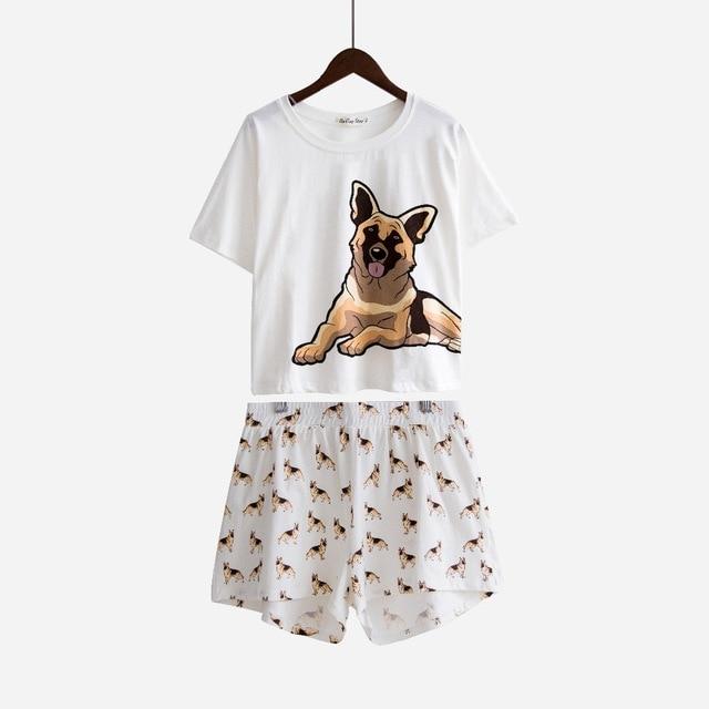 Women's Cute   Pajama     Sets   German Shepherd Dog Print 2 Pieces   Set   Crop Top + Shorts Elastic Waist Loose Top White Home Wear S7N901
