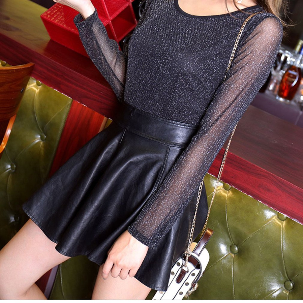 Shining Womens Sexy See Through Tee Tops Round-neck Long Sleeve Shimmer Mesh Ladies Summer Women Beach Shirt Tops 2018