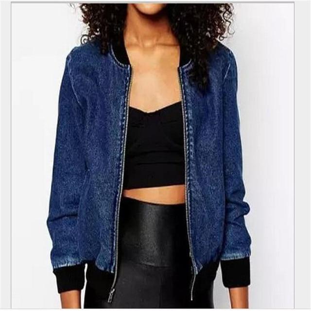 2015 New Design Women Denim Jackets Coat Fall Winter Fashion Jeans Blue Baseball Uniform Jacket Brand Women Short Jean Jacket