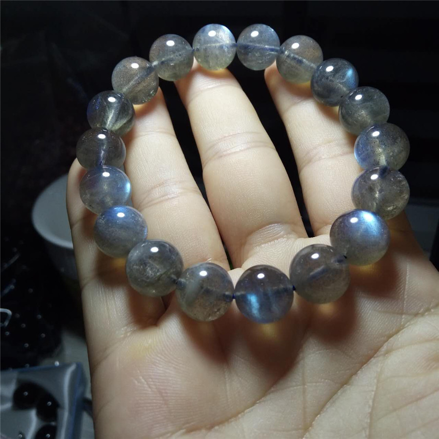 Genuine Natural Rainbow Lights Labradorite Quartz Crystal Bracelets Women Femme Charm Stretch Round Bead Bracelet 12mm roomble комплект тарелок zanotty i