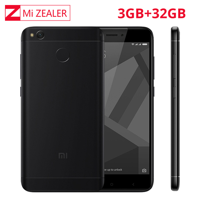 """Оригинальный Xiaomi Redmi 4x3 ГБ Оперативная память 32 ГБ Встроенная память Глобальный Встроенная память Snapdragon 435 Octa core отпечатков пальцев ID 13.0mp 5 """"miui9 4100 мАч смартфон"""