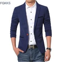 FGKKS Новое поступление мужской блейзер осенний модный брендовый высококачественный мужской Костюм хлопковый приталенный Повседневный блейзер мужской костюм s