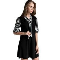 New Summer Style Women Dress Top Fashion Stitching Ladies Elegant Dress Bow Casual Dresses Brand Women