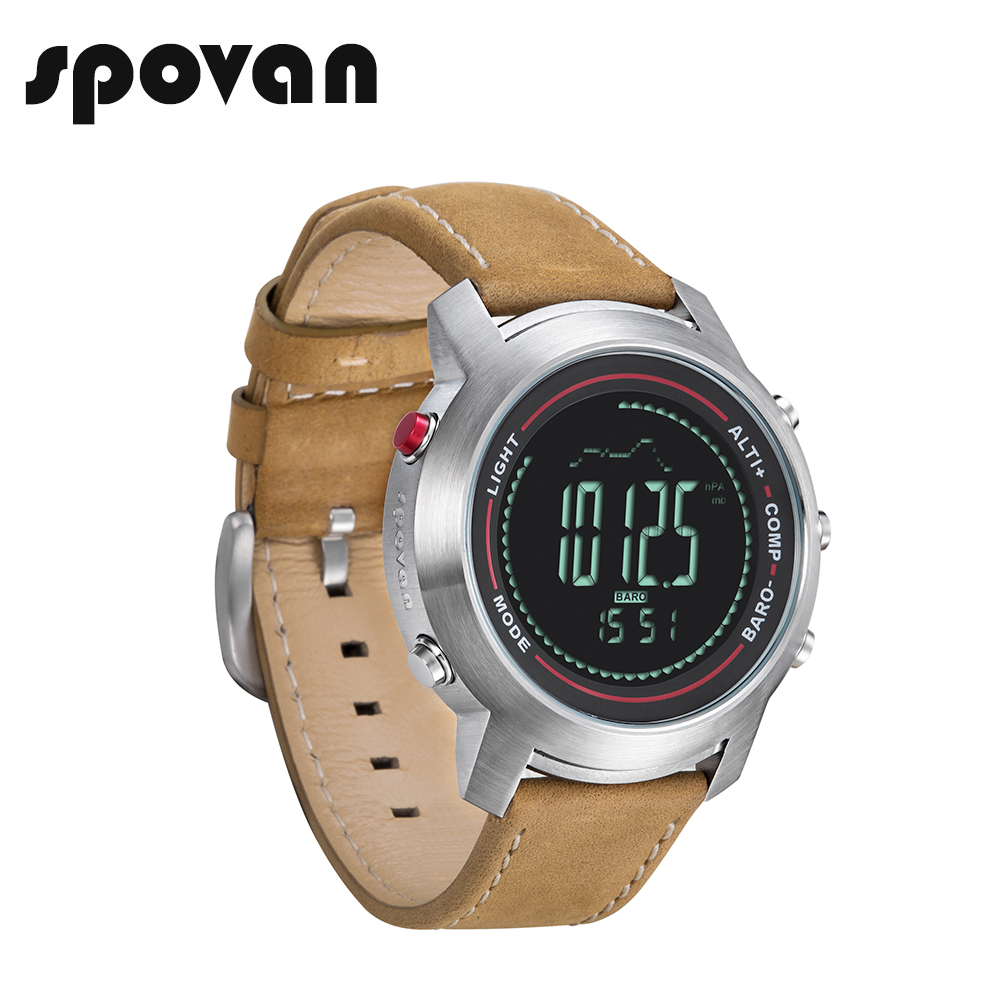 SPOVAN Sport Watch for Men, Sports Watches with Genuine Leather Band, Compass/Pacer/Waterproof/LED Backlight MG01d