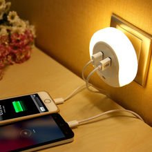 2 In 1 Dual usb charger plug + LED Night Light with Light Sensor  LED Emergency table Lamp for Bathrooms Bedrooms стоимость