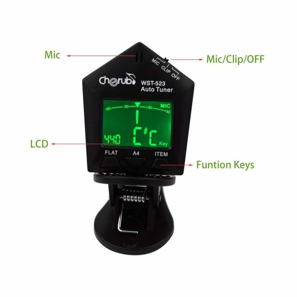 cherub automatic clip guitar tuner wst 523 lcd display electric guitar tuner musical instruments. Black Bedroom Furniture Sets. Home Design Ideas
