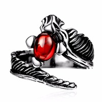 Unique Star Celebrity Movie Magic Ring Men 316L Stainless Steel Red Cubic Zirconia Finger Rings Black